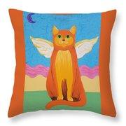 Orange Angel Cat Throw Pillow