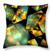 Orange Aqua Honeycomb Throw Pillow