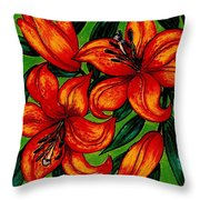 Orange Asiatics Throw Pillow