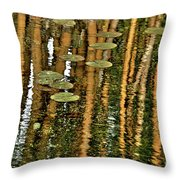 Orange Bamboo Abstract, Reflection On Water Throw Pillow