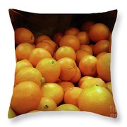 Orange Basket Throw Pillow by Methune Hively