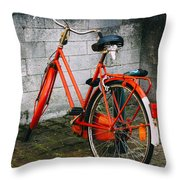 Orange Bicycle In The Street Throw Pillow