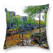 Orange Bike Throw Pillow