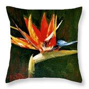 Orange Bird Of Paradise Throw Pillow