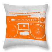 Orange Boombox Throw Pillow