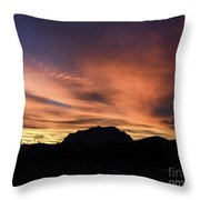 Orange Brushstrokes Over Picket Post Throw Pillow