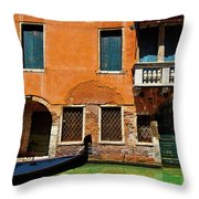 Orange Building And Gondola Throw Pillow