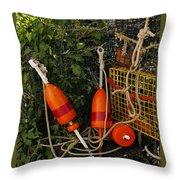 Orange Buoys, Nautical, Marblehead, Ma Throw Pillow