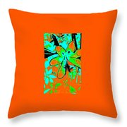 Orange Burst Flower Throw Pillow
