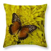 Orange Butterfly On Yellow Mums Throw Pillow