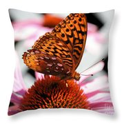 Orange Butterfly Throw Pillow