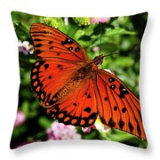 Orange Butterfly Throw Pillow by Valeria Donaldson