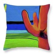 Orange Cactus By Nixo Throw Pillow