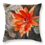 Orange Cactus Flower II Throw Pillow