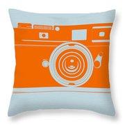 Orange Camera Throw Pillow by Naxart Studio