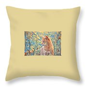 Orange Cat In Field Of Yellow Flowers Throw Pillow