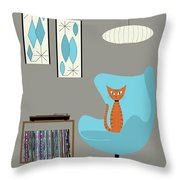Orange Cat In Turquoise Egg Chair Throw Pillow