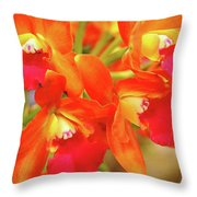 Orange Cattleya Orchid Throw Pillow