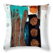 Orange Circles On Slate Throw Pillow