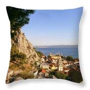 Orange Coastal Sunset Throw Pillow
