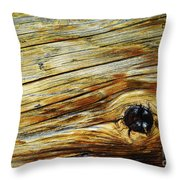 Orange Colored Old Wooden Board Throw Pillow