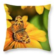 Orange Crescent Butterfly Throw Pillow