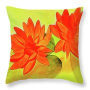 Orange Waterlily Watercolor Painting Throw Pillow