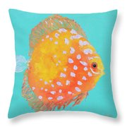 Orange Discus Fish With Purple Spots Throw Pillow