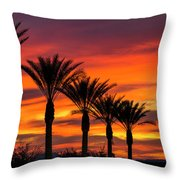 Orange Dream Palm Sunset  Throw Pillow