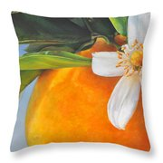 Orange En Fleurs Throw Pillow
