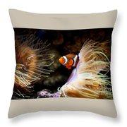 Orange Fish In Sea Anemones Throw Pillow