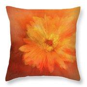 Orange Flower Energy Throw Pillow