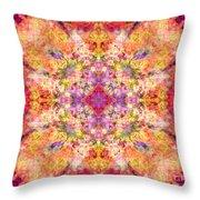 Orange Flower Mandala Throw Pillow