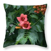 Orange Flowers On A Vine Throw Pillow
