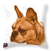 Orange French Bulldog Pop Art - 0755 Wb Throw Pillow