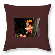 Orange Gladiolus Throw Pillow