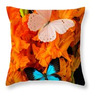 Orange Glads With Two Butterflies Throw Pillow