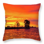 Orange Glow Sunset At Sunset Beach In Vancouver Bc Throw Pillow