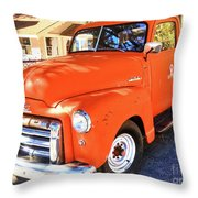 Orange Gmc Pickup Truck In Idyllwild Throw Pillow