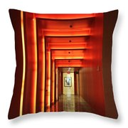 Orange Hallway Throw Pillow