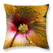 Orange Hibiscus II With Water Droplets Throw Pillow