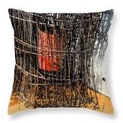 Orange In Wire Throw Pillow