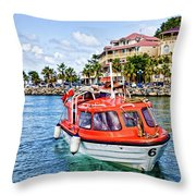 Orange Lifeboats Across Colorful Bay Throw Pillow