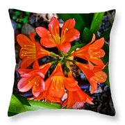 Orange Trumpet Flowers At Pilgrim Place In Claremont-california Throw Pillow