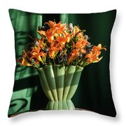 Orange Lilies In June Throw Pillow