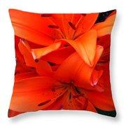 Orange Lily Closeup Digital Painting Throw Pillow