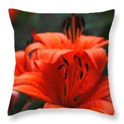 Orange Lily Digital Painting Throw Pillow