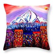 Orange Moon Over Mount Hood #1 Throw Pillow