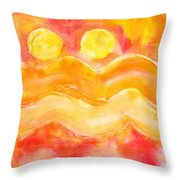 Orange Moons Throw Pillow