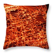 Orange Neon Flames Throw Pillow